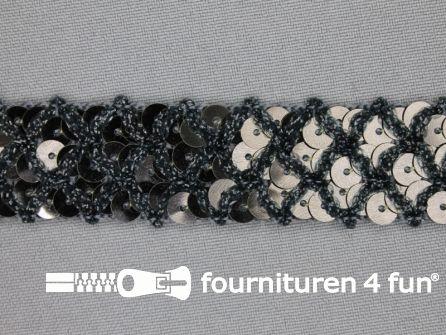 Pailletten band 20mm zwart met ruitjes draad
