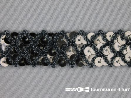Pailletten band 20mm donker grijs met ruitjes draad