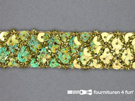 Pailletten band 20mm hologram goud met ruitjes draad