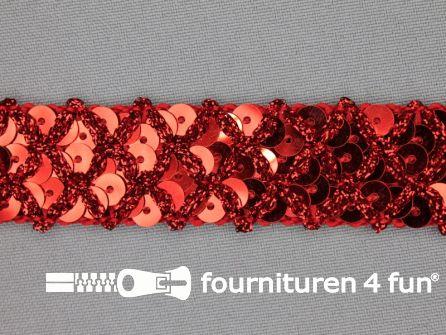 Pailletten band 20mm rood met ruitjes draad