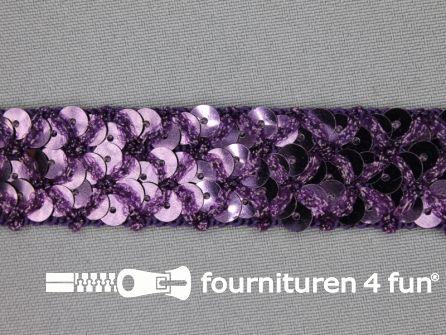 Pailletten band 20mm donker paars met ruitjes draad