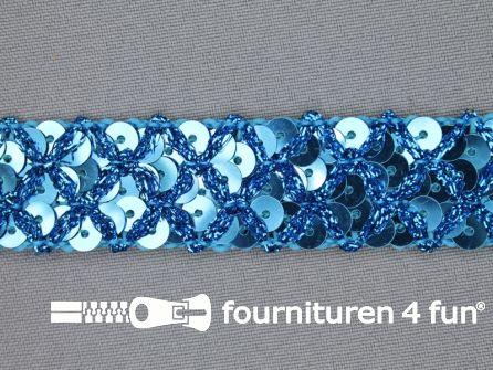 Pailletten band 20mm aqua blauw met ruitjes draad