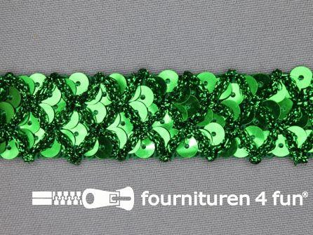 Pailletten band 20mm gras groen met ruitjes draad