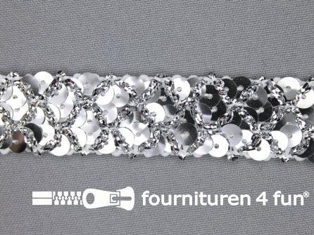 Pailletten band 20mm zilver met ruitjes draad