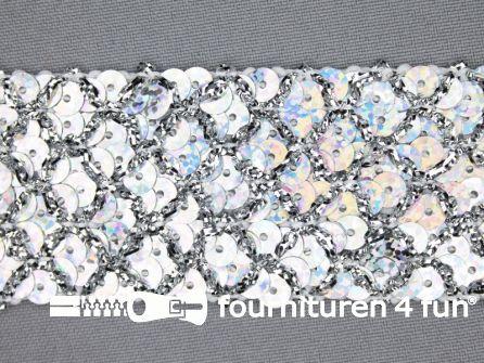 Pailletten band 40mm hologram zilver met ruitjes draad