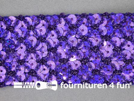 Pailletten band 40mm paars met ruitjes draad
