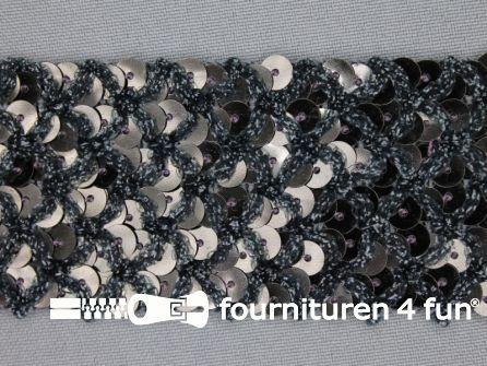 Pailletten band 40mm donker grijs met ruitjes draad