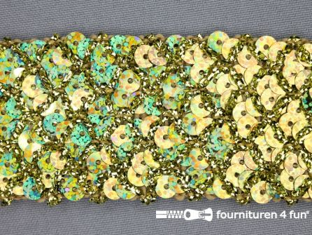 Pailletten band 40mm hologram goud met ruitjes draad