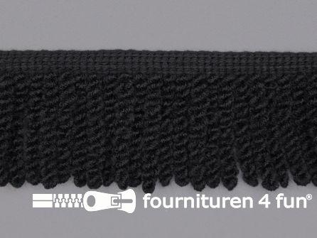 Elastische franje 55mm zwart