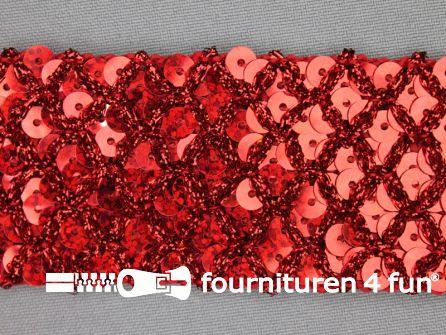 Pailletten band 40mm rood met ruitjes draad