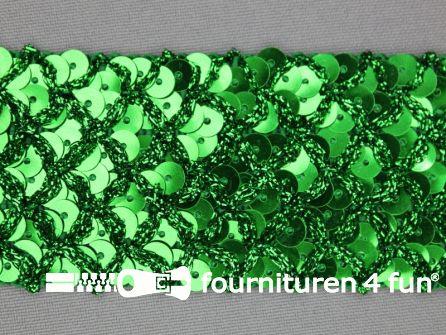 Pailletten band 40mm groen met ruitjes draad