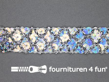 Pailletten band 20mm hologram zilver met ruitjes draad