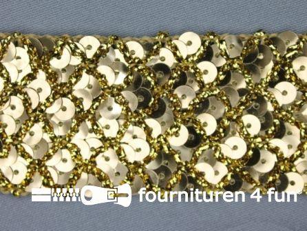Pailletten band 40mm goud met ruitjes draad