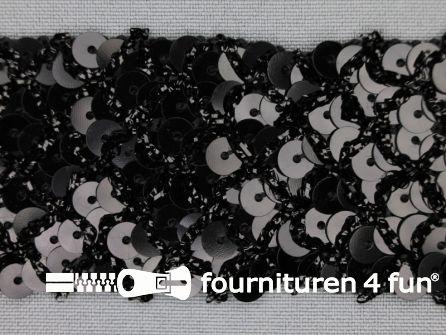 Pailletten band 40mm zwart met ruitjes draad