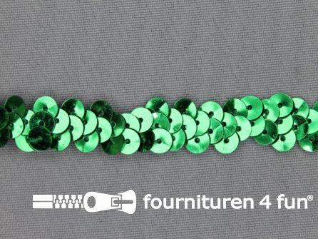 Elastische pailletten band 12mm groen