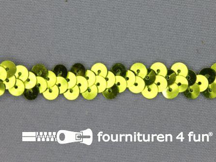 Elastische pailletten band 12mm olijf groen