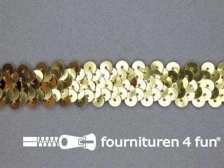Elastische pailletten band 20mm goud