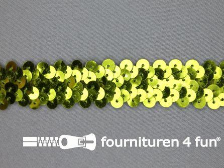 Elastische pailletten band 20mm olijf groen