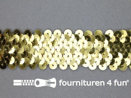 Elastische pailletten band 30mm goud