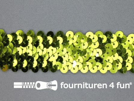 Elastische pailletten band 30mm olijf groen