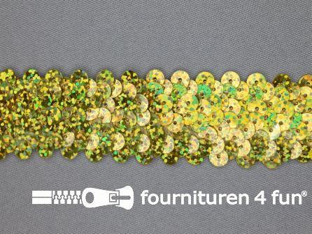 Elastische pailletten band 30mm hologram goud