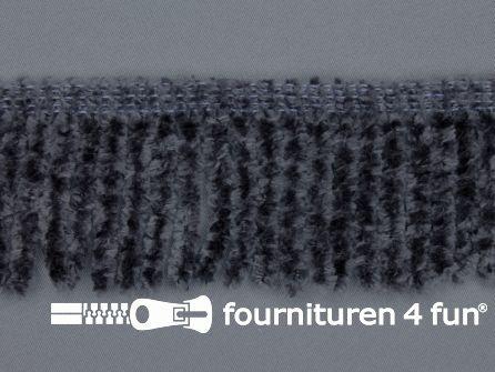 Chenille franje 60mm donker grijs