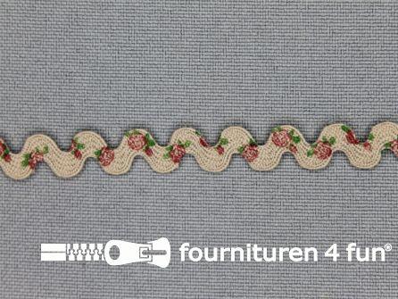Zigzag band vintage roosmotief 8mm licht beige