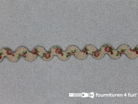 Zigzag band vintage roosmotief 8mm donker beige