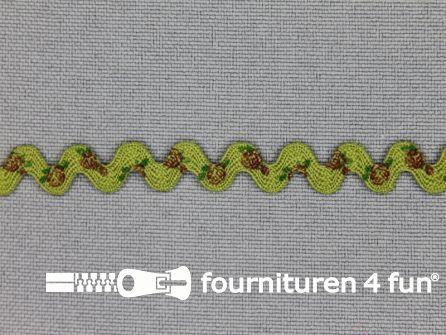 Zigzag band vintage roosmotief 8mm groen