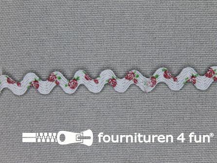 Zigzag band vintage roosmotief 8mm grijs