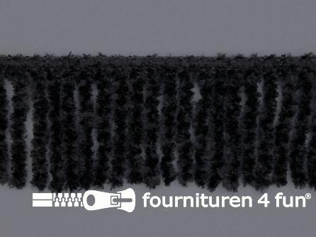 Chenille franje 60mm zwart