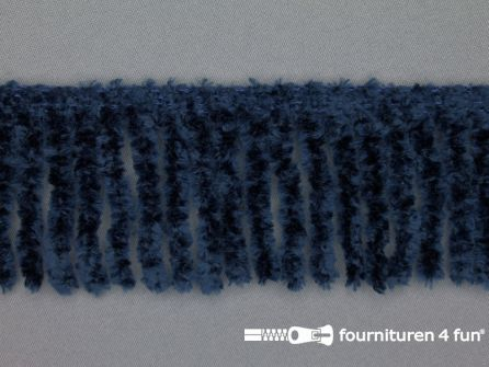 Chenille franje 60mm marine blauw