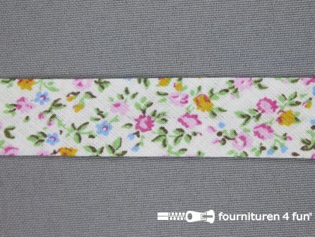 Print biasband bloemen multicolor met ecru