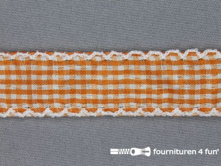 Ruitjes kant 23mm oranje