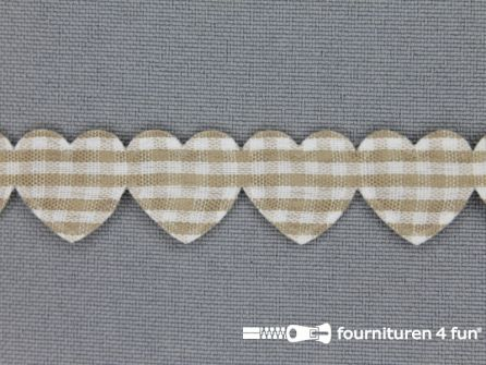 Guirlande hartjes 15mm beige