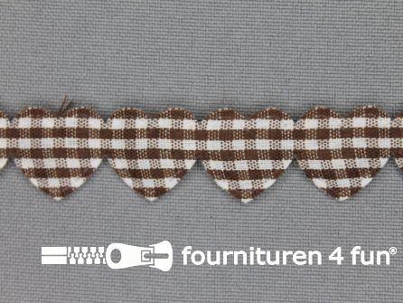 Guirlande hartjes 15mm donker bruin