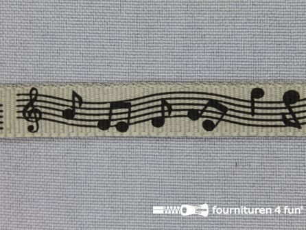 Deco lint muziek noten 11mm taupe