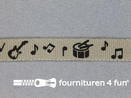 Deco lint muziek instrumenten 10mm beige