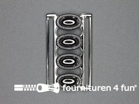 Inhaakgesp 60mm zwart zilver