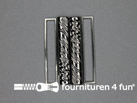 Inhaakgesp 50mm zwart zilver