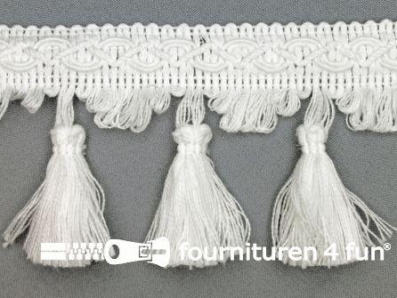 Katoenen franje 80mm kwasten wit