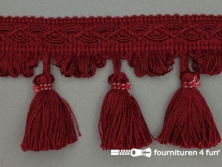 Katoenen franje 80mm kwasten bordeaux rood