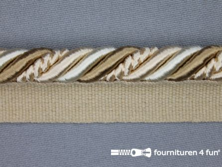 Gedraaid multicolor paspelband 23mm ecru - beige