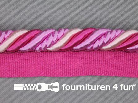 Gedraaid multicolor paspelband 23mm fuchsia - roze