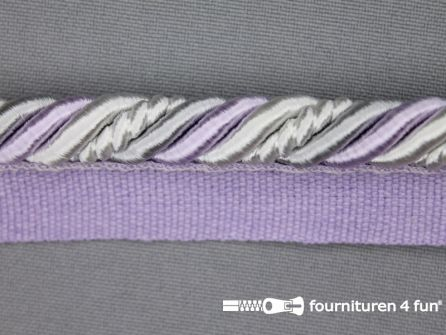 Gedraaid multicolor paspelband 23mm lila - grijs