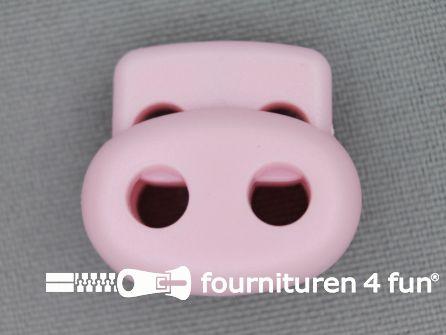 Koord stopper 22mm dubbel licht roze