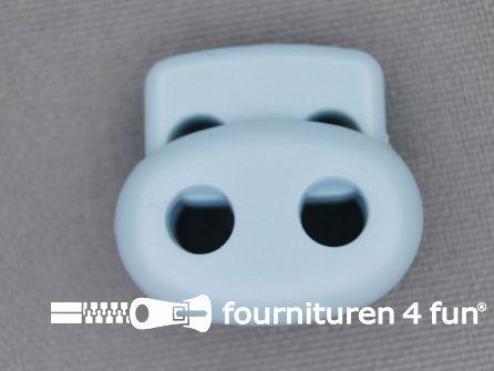 Koord stopper 22mm dubbel licht blauw