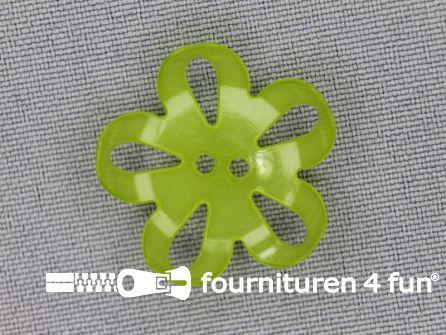 Bloemen knoop 25mm lime groen
