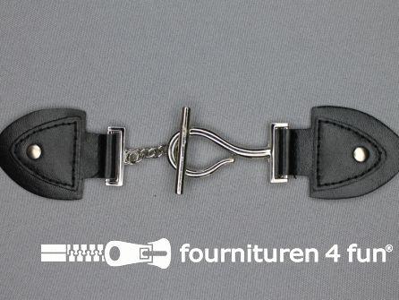 Siersluiting leer 177x37mm zwart - zilver
