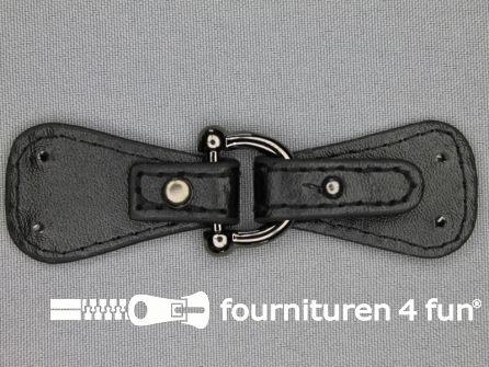 Siersluiting leer 94x27mm zwart - zilver